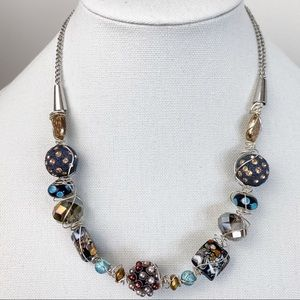 Artisan Silver Beaded & Wired Wrapped Necklace